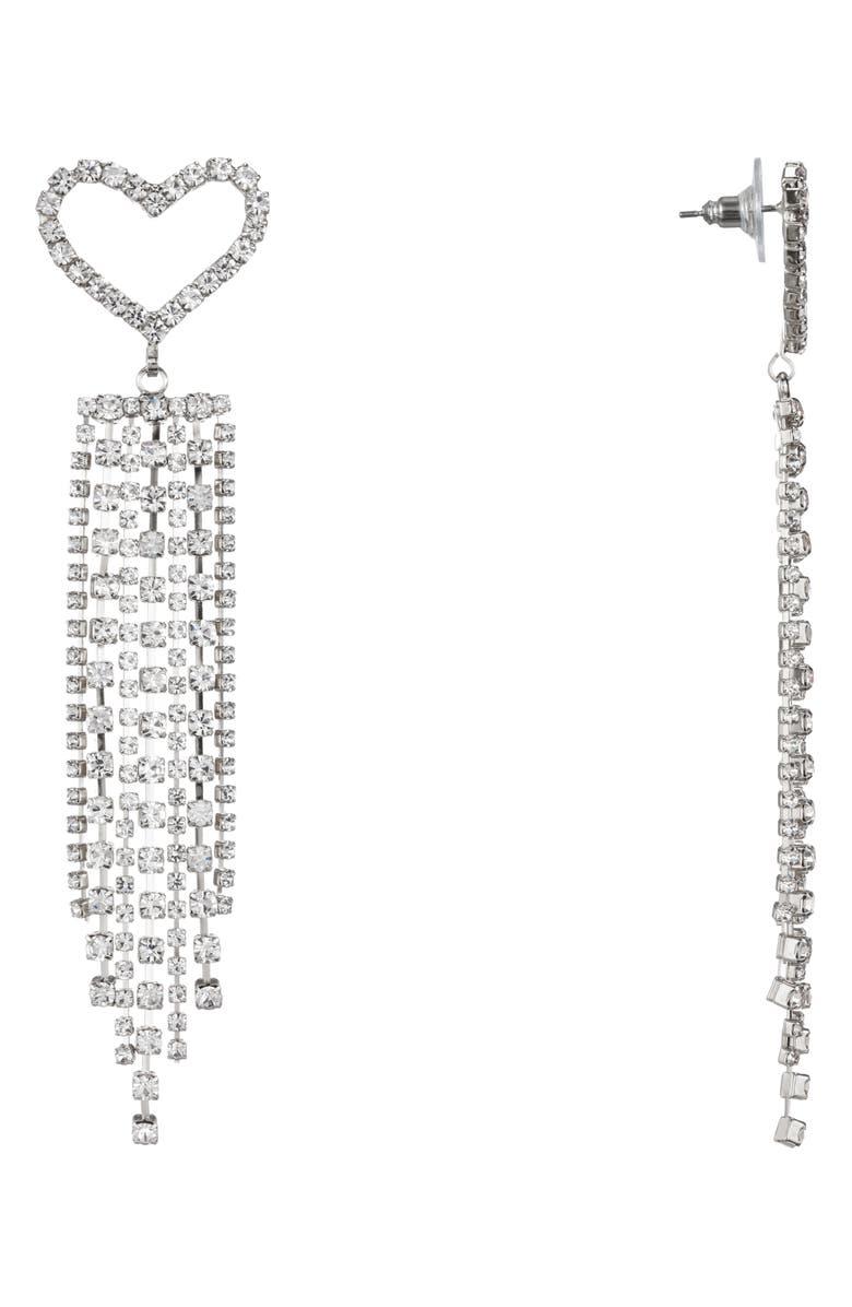 NINA Heart Fringe Earrings, Main, color, RHODIUM/ WHITE CRYSTAL