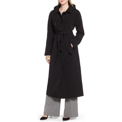 London Fog Long Trench Coat With Detachable Hood & Liner