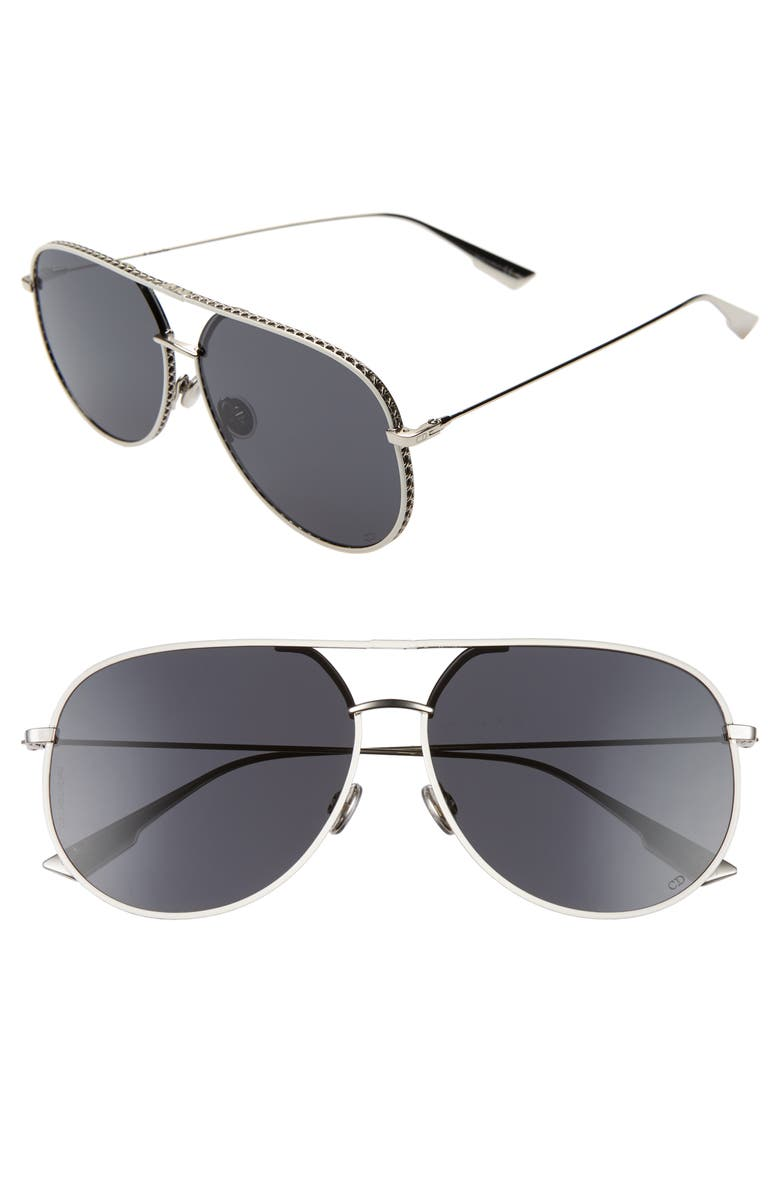 DIOR 60mm Aviator Sunglasses, Main, color, PALLADIUM