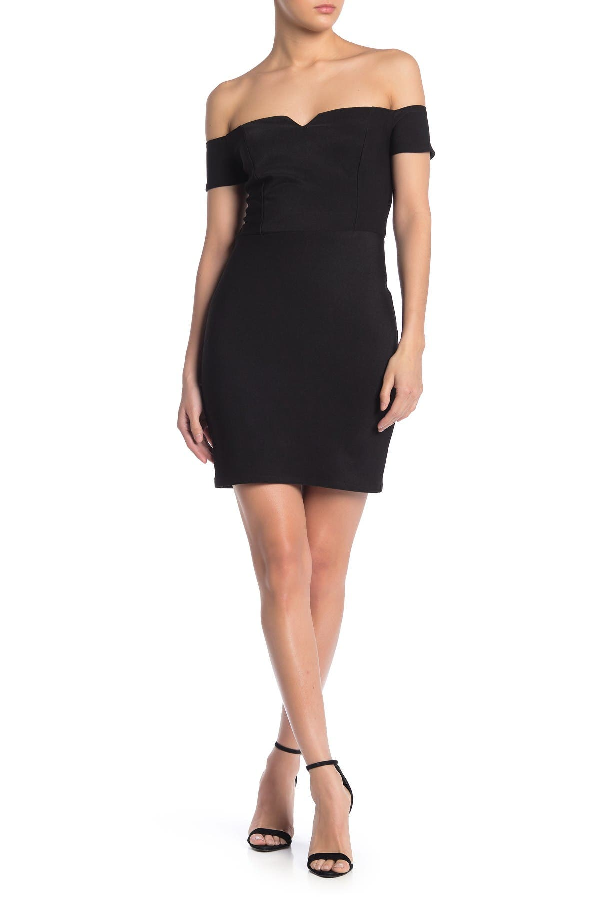 Image of JUMP Notched Off-the-Shoulder Bodycon Dress