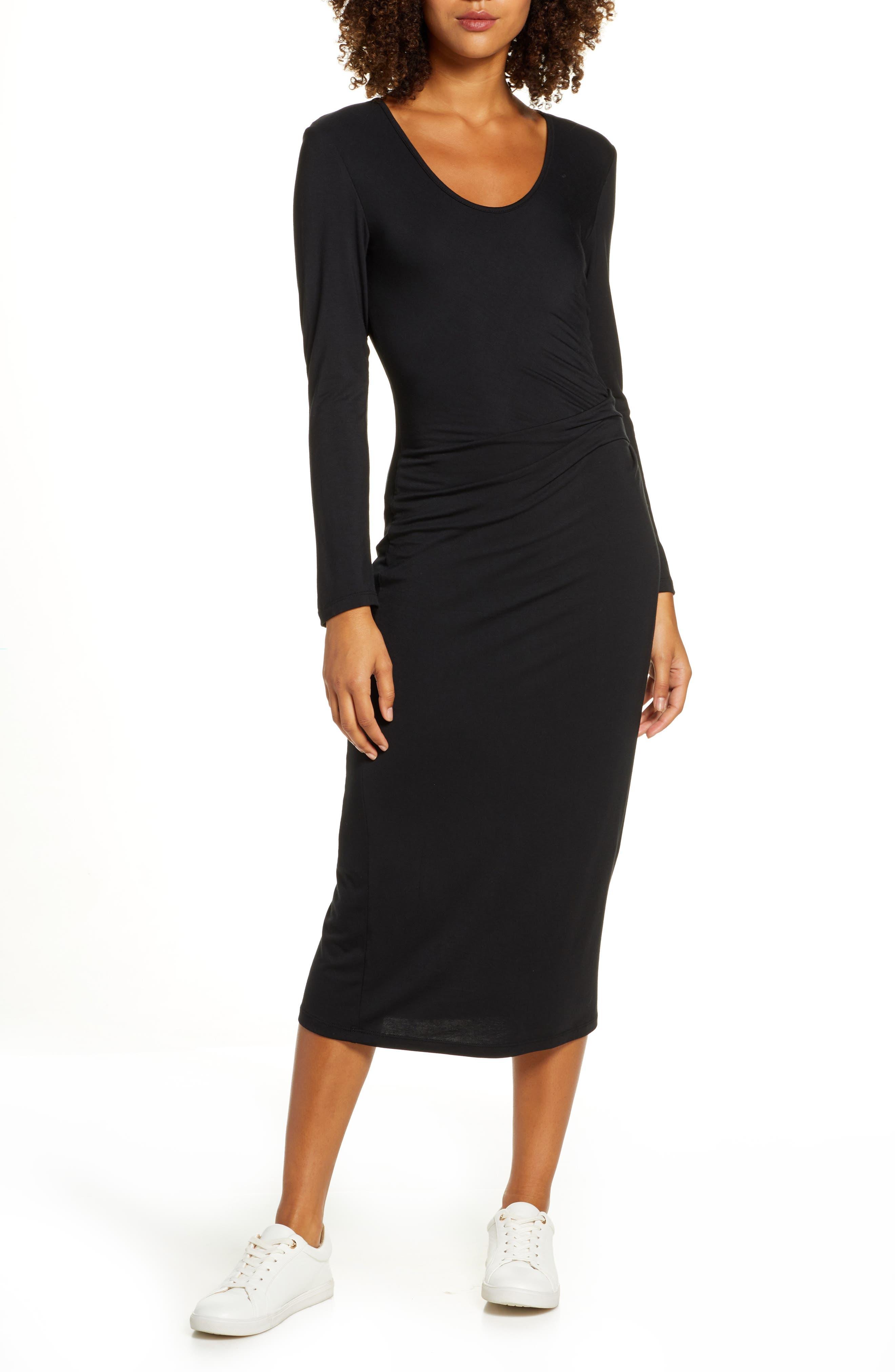 Image of Fraiche By J Scoop Neck Long Sleeve Midi Dress