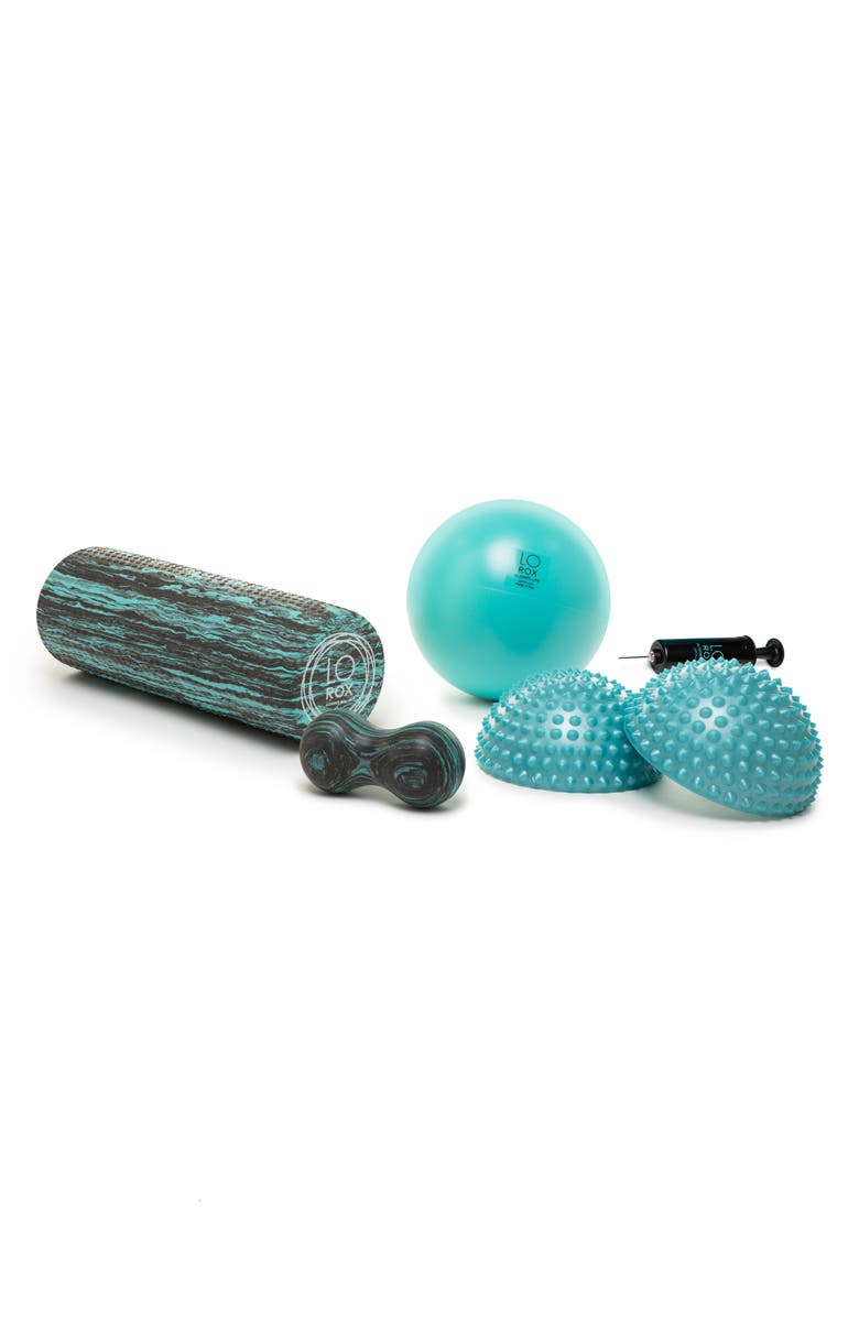 LO ROX LoRox Aligned Life Fitness Roller Travel Set, Main, color, TEAL/BLACK