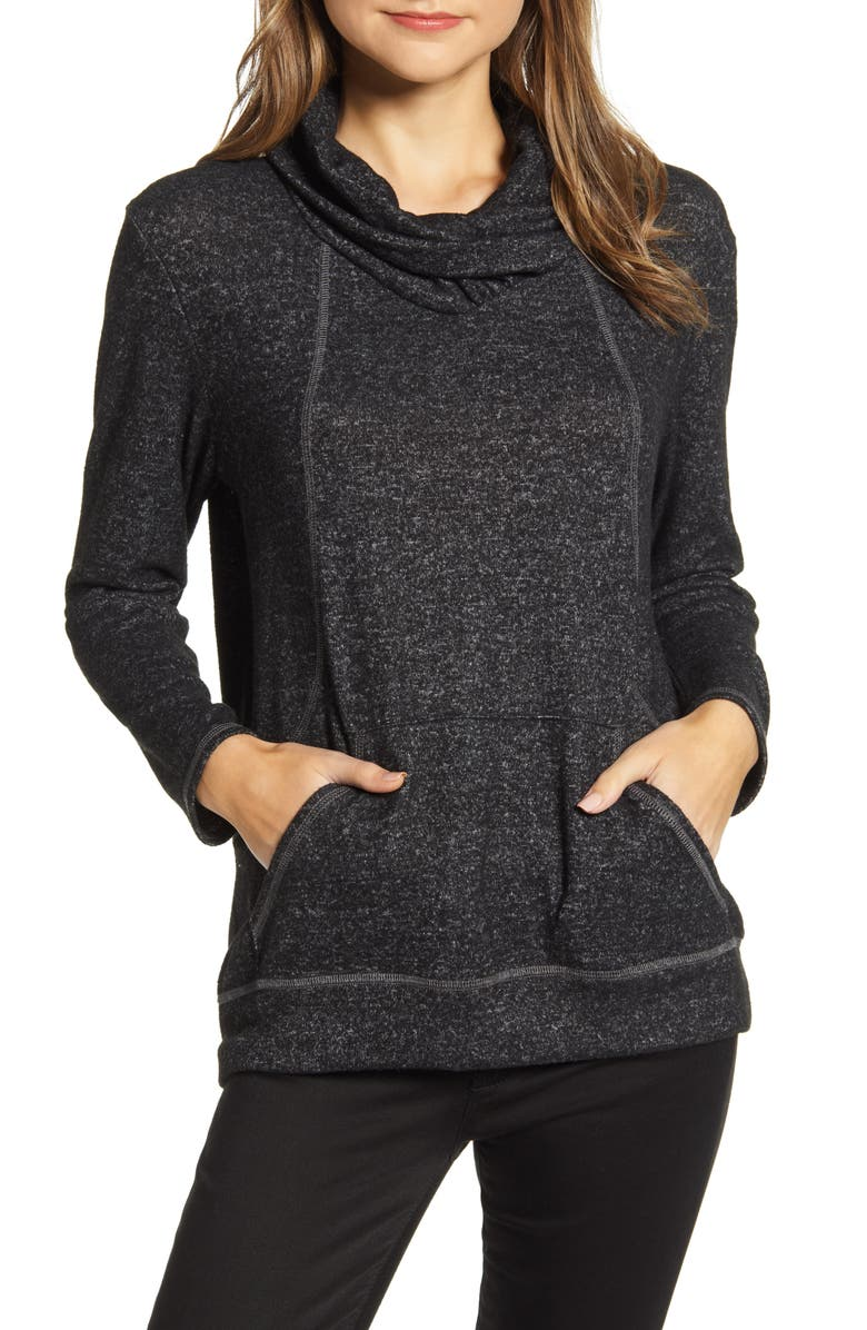 LOVEAPPELLA Cross Neck Seamed Pullover, Main, color, MARBLE BLACK