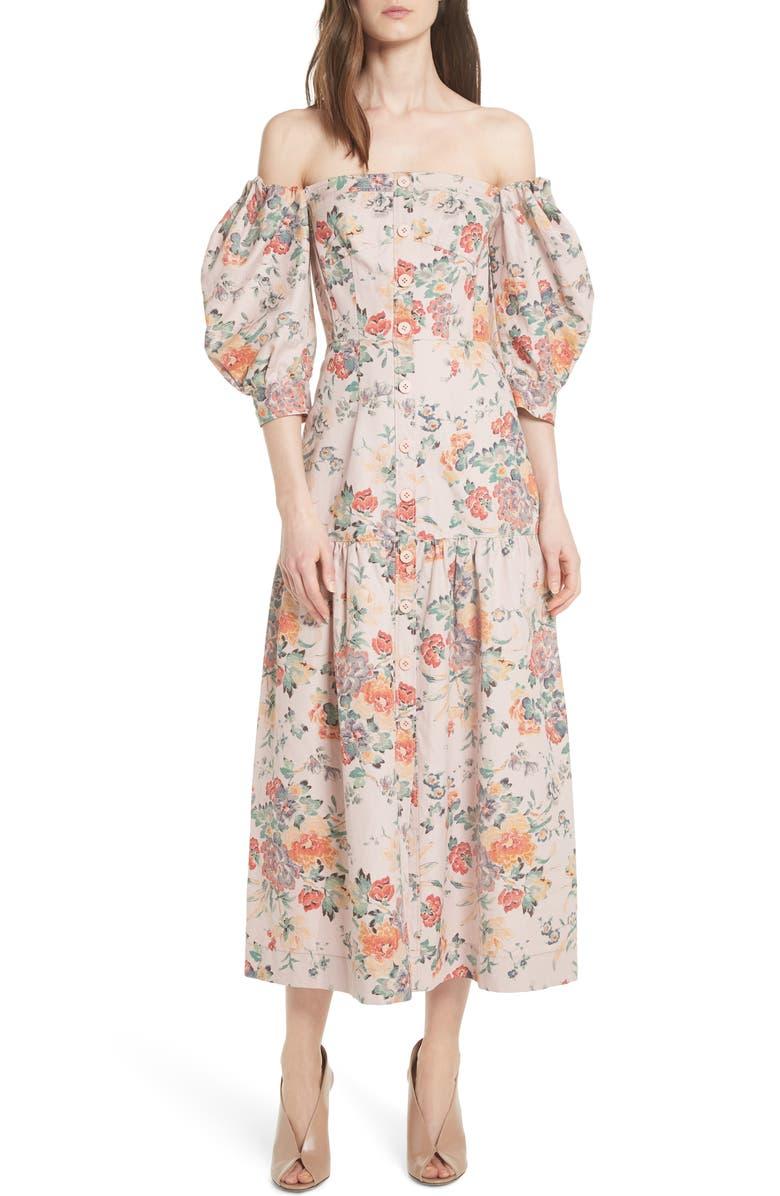 REBECCA TAYLOR Marlena Off the Shoulder Floral Midi Dress, Main, color, 657