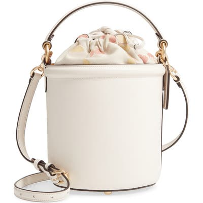 Coach Leather Drawstring Bucket Bag - White