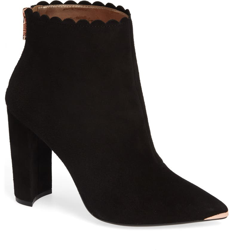 TED BAKER LONDON Ofelia Scalloped Pointy Toe Bootie, Main, color, 010