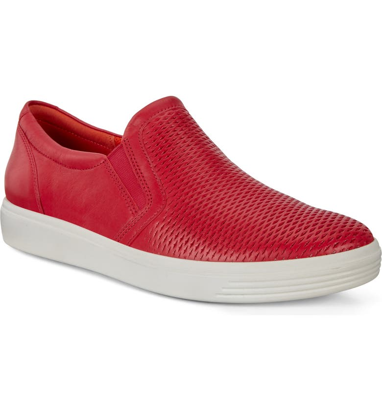ECCO Soft Classic Slip-On Sneaker, Main, color, CHILI RED LEATHER