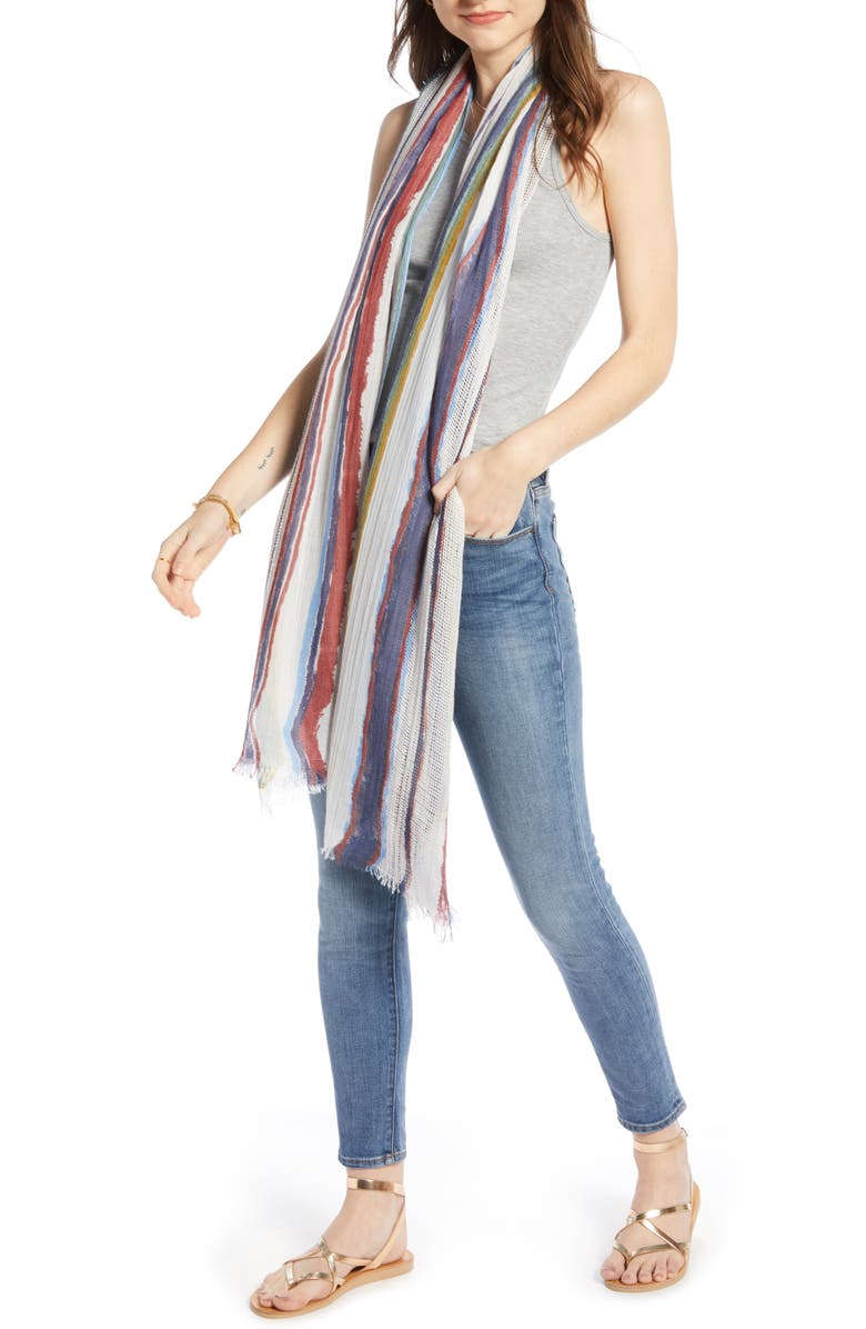 TREASURE & BOND Textured Print Scarf, Main, color, IVORY RAY STRIPE PRINT