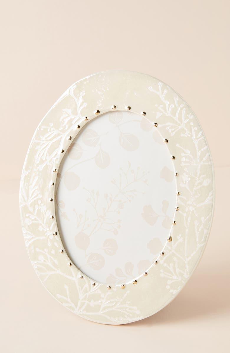 ANTHROPOLOGIE Neva Oval Frame, Main, color, WHITE