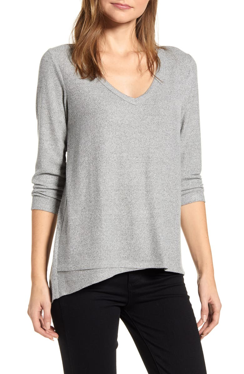 BOBEAU Laurel Asymmetrical Hem Top, Main, color, H GREY