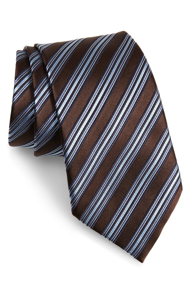 ERMENEGILDO ZEGNA Stripe Silk Tie, Main, color, DARK BROWN STRIPE