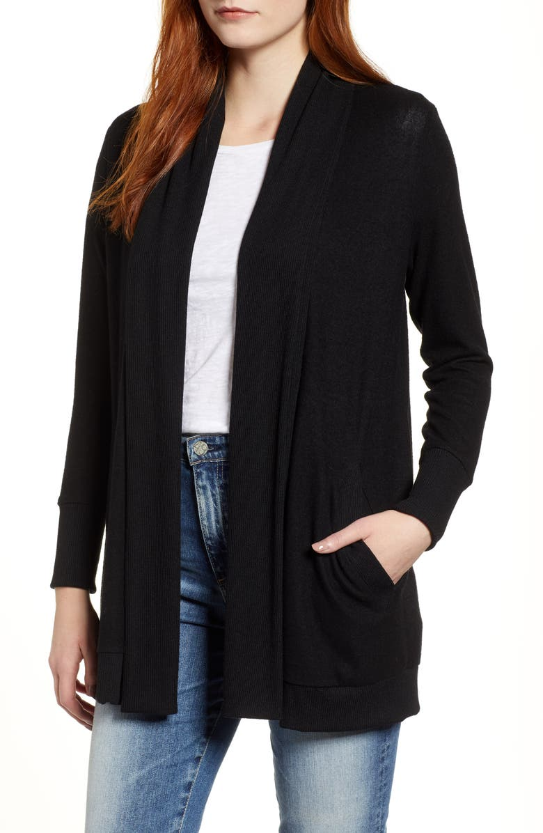 GIBSON Cozy Ribbed Cardigan, Main, color, BLACK