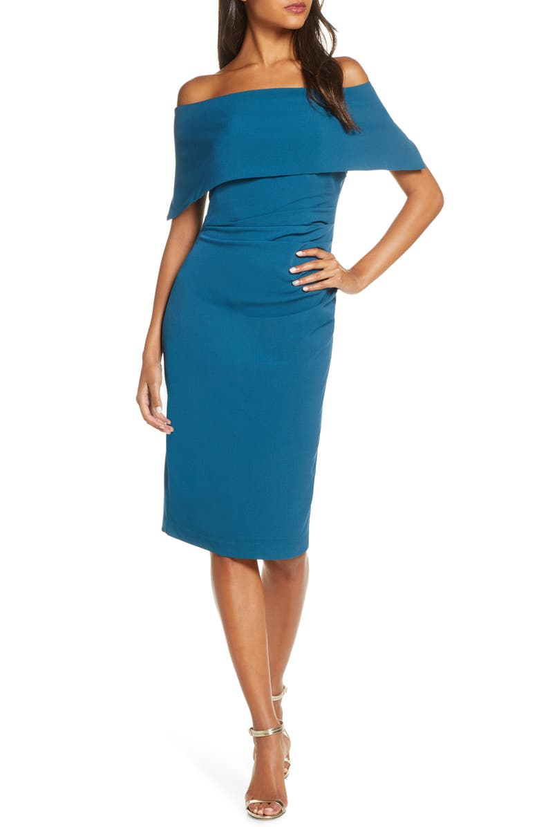 VINCE CAMUTO Popover Dress, Main, color, TEAL