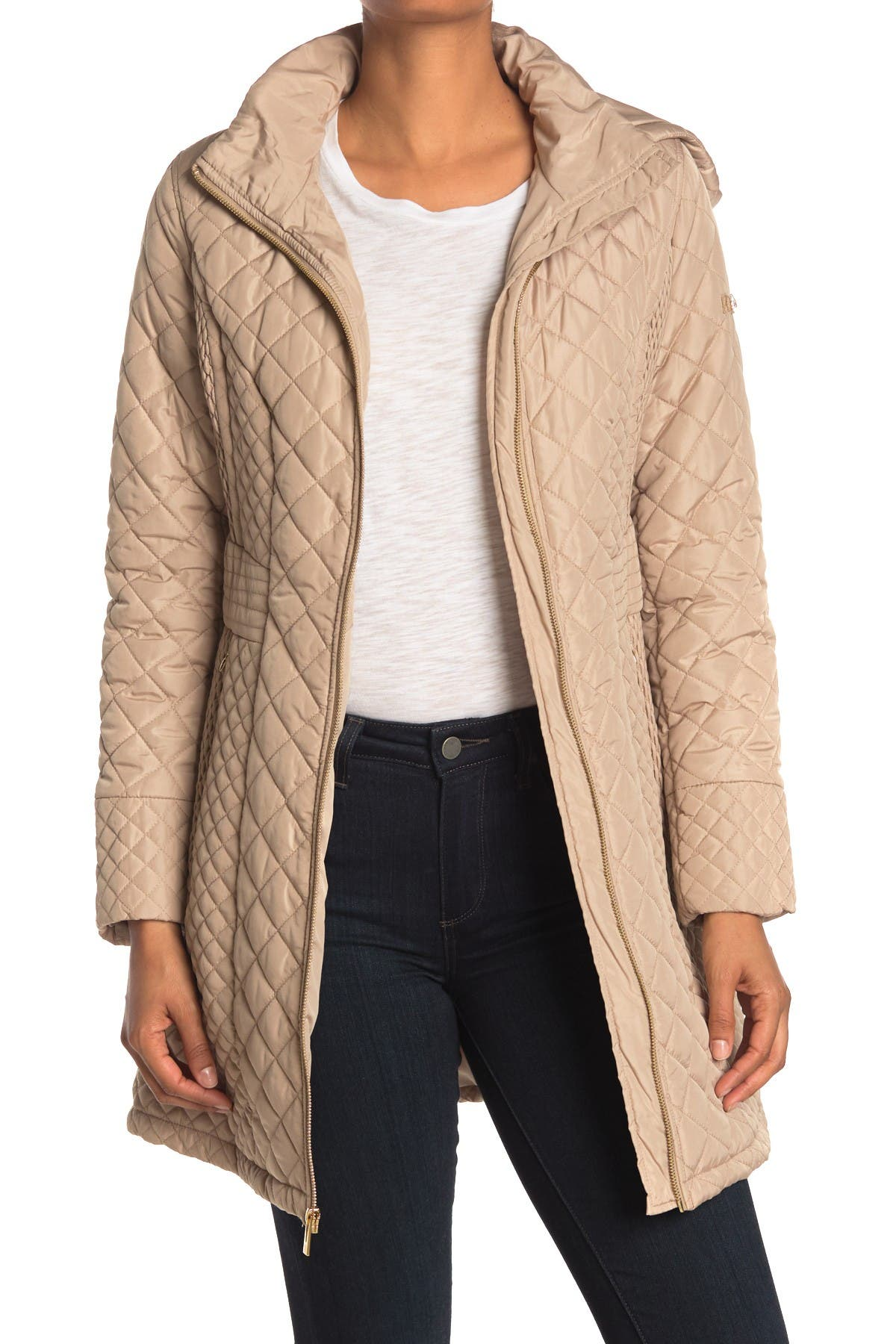 Image of Via Spiga Hooded Quilted Jacket
