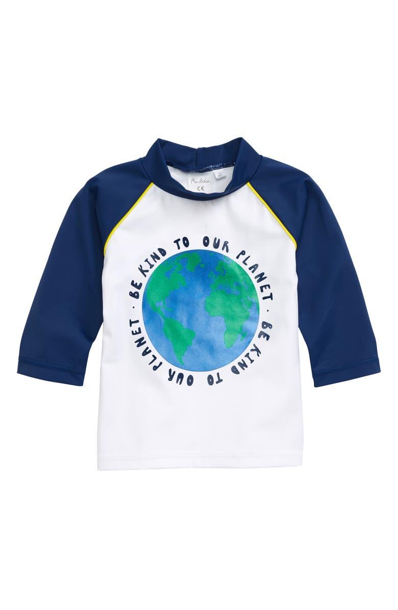 MINI BODEN Kind to Our Planet Rashguard, Main, color, WHITE/ DEEP SEA BLUE EARTH