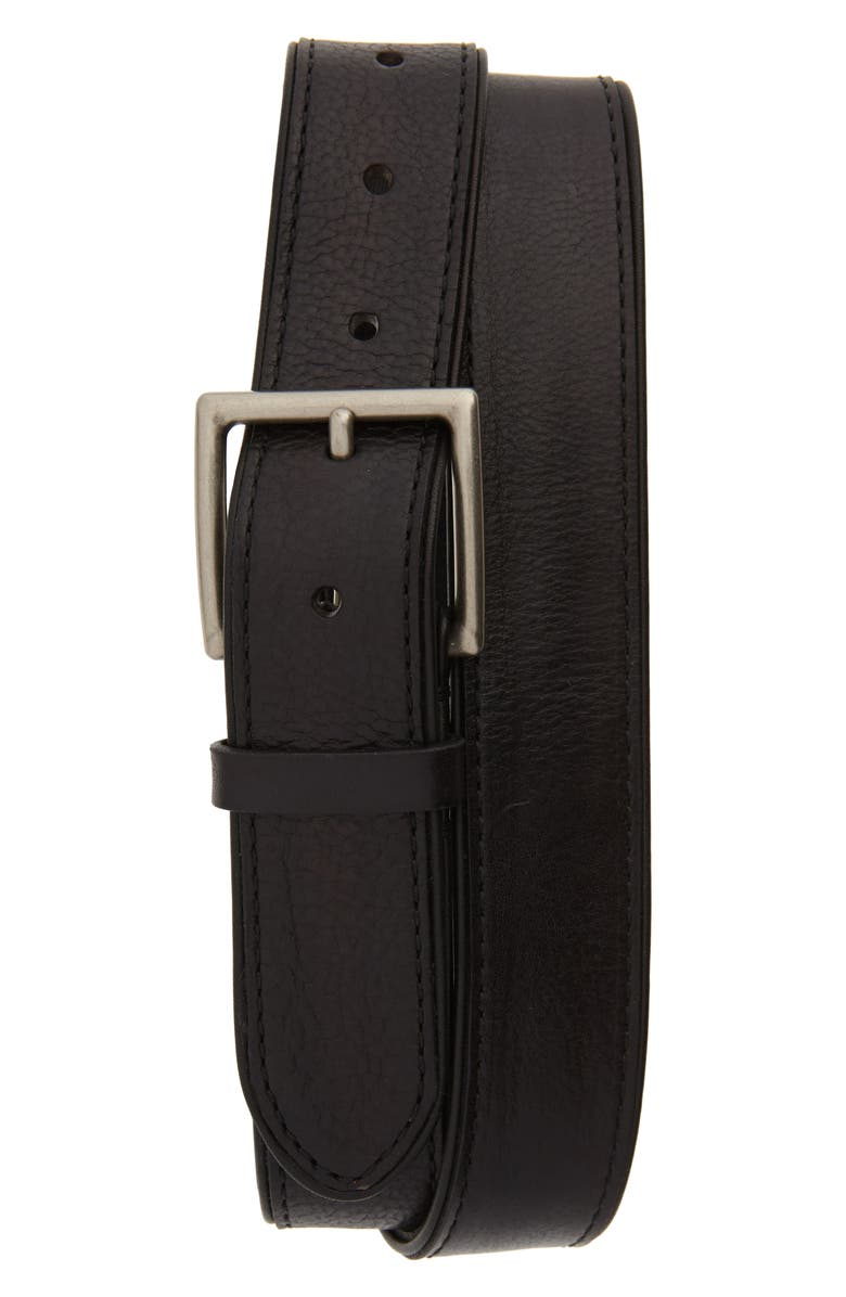 FRYE Leather Belt, Main, color, BLACK