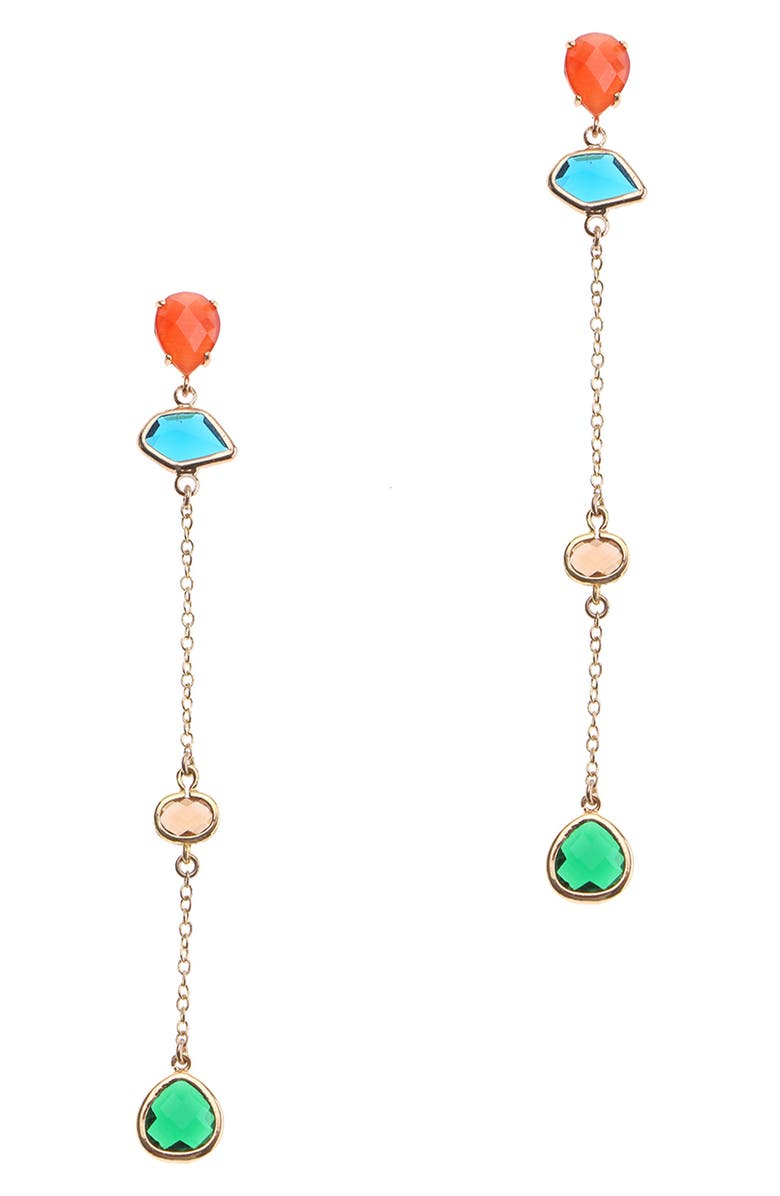 NAKAMOL CHICAGO Linear Crystal Earrings, Main, color, ORANGE/ BLUE/ GREEN/ GOLD