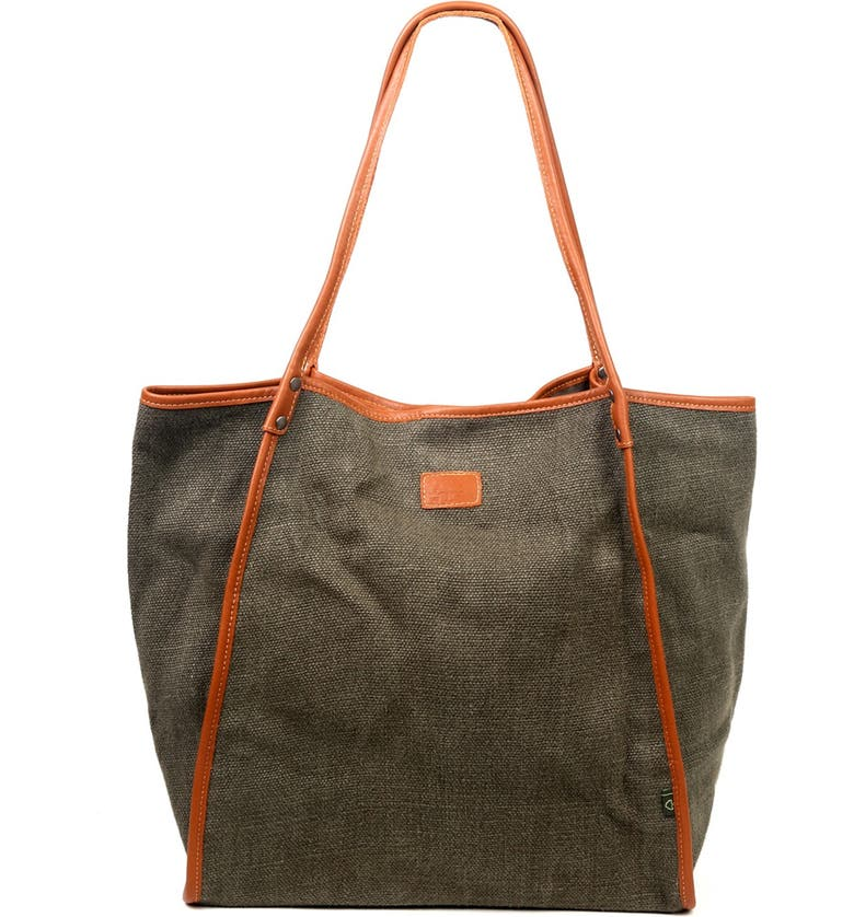 THE SAME DIRECTION Pine Hills Canvas Tote Bag, Main, color, OLIVE