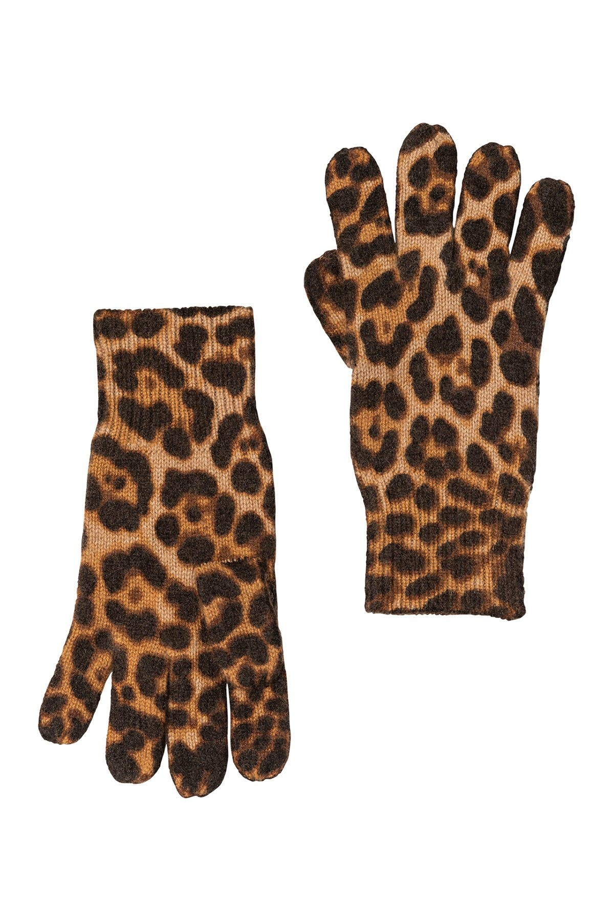 Image of AMICALE Cashmere Animal Print Gloves