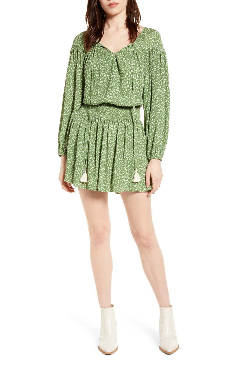 ALL IN FAVOR Floral Smocked Waist Long Sleeve Minidress, Main, color, 300