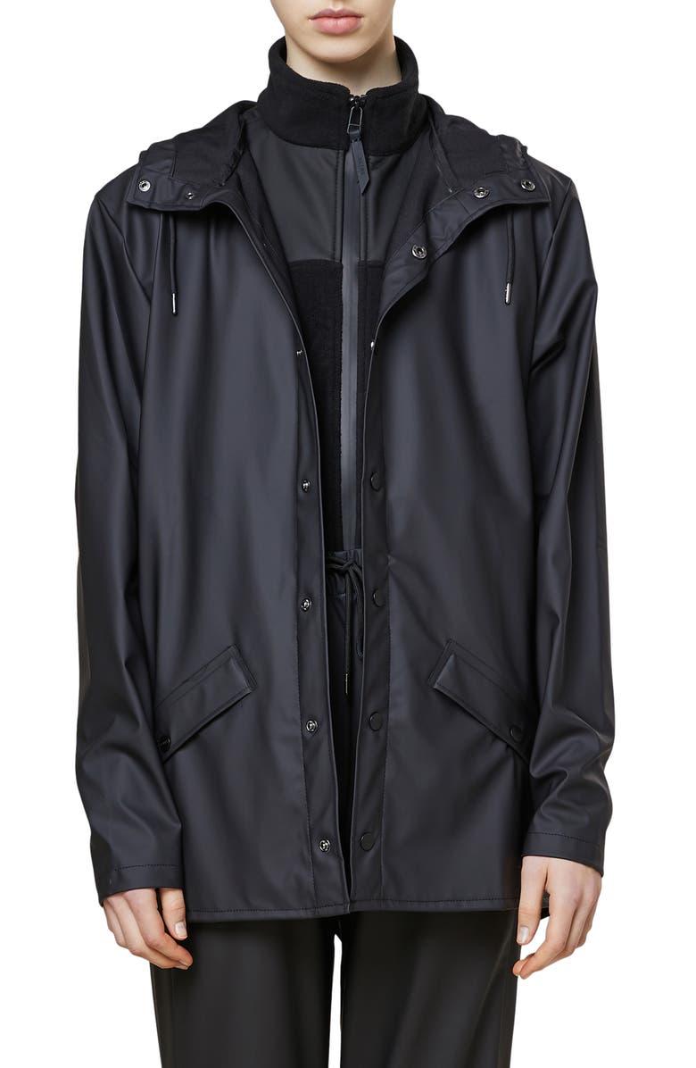 RAINS Lightweight Hooded Rain Jacket, Main, color, 001