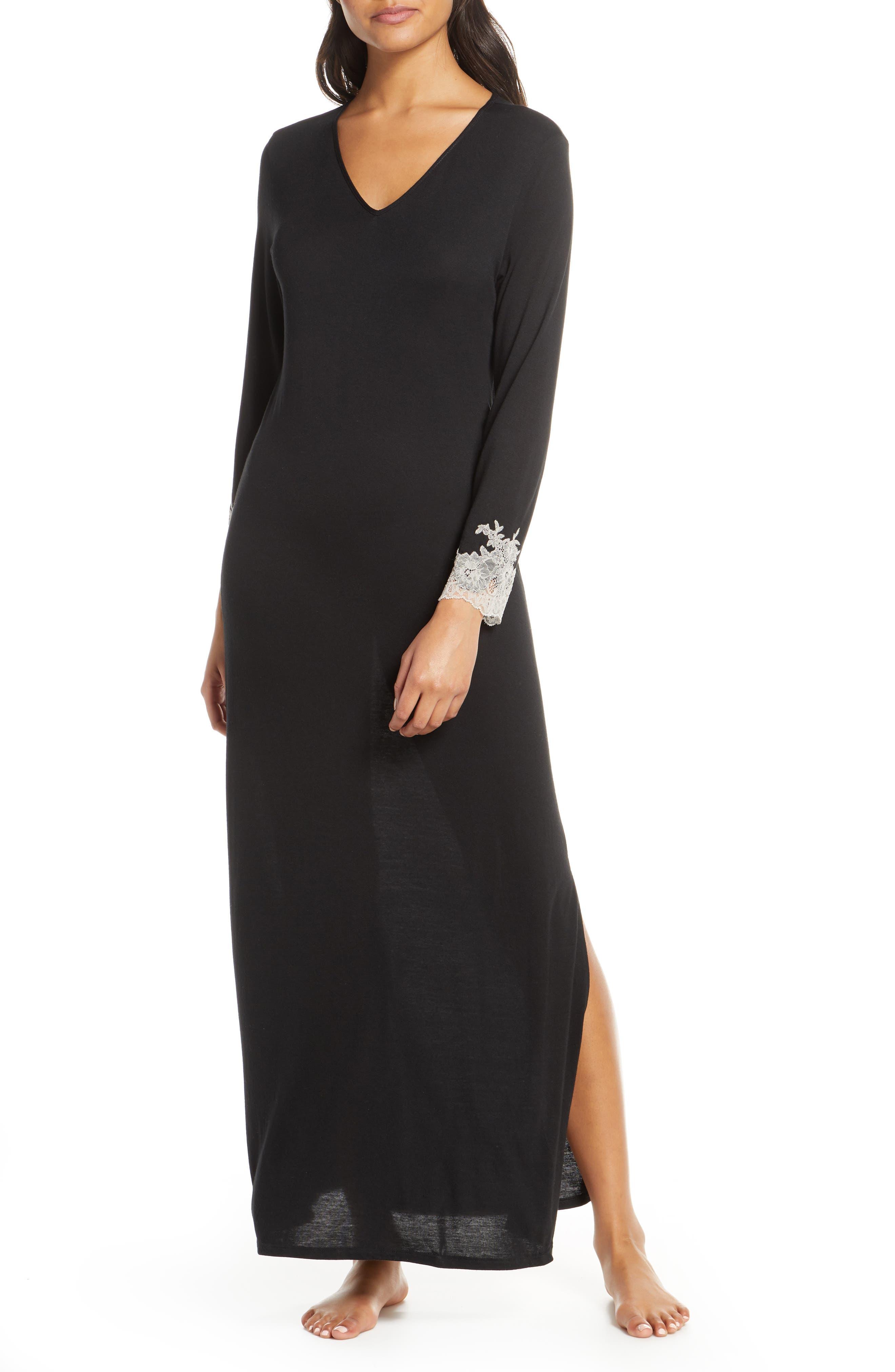 Natori Lounger Luxe Shangri La Nightgown, Black