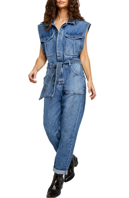 Free People SYDNEY SLEEVELESS NONSTRETCH DENIM COVERALLS