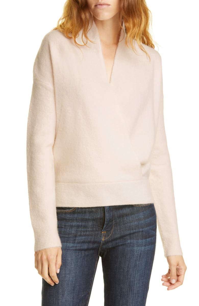 LEWIT Wrap Front Cashmere Blend Sweater, Main, color, PINK SHEER