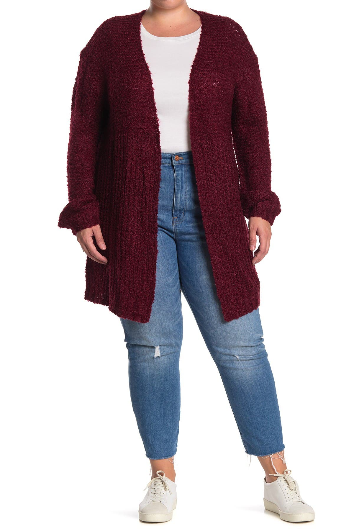 Image of STITCHDROP Mixed Stitch Boucle Open Front Cardigan