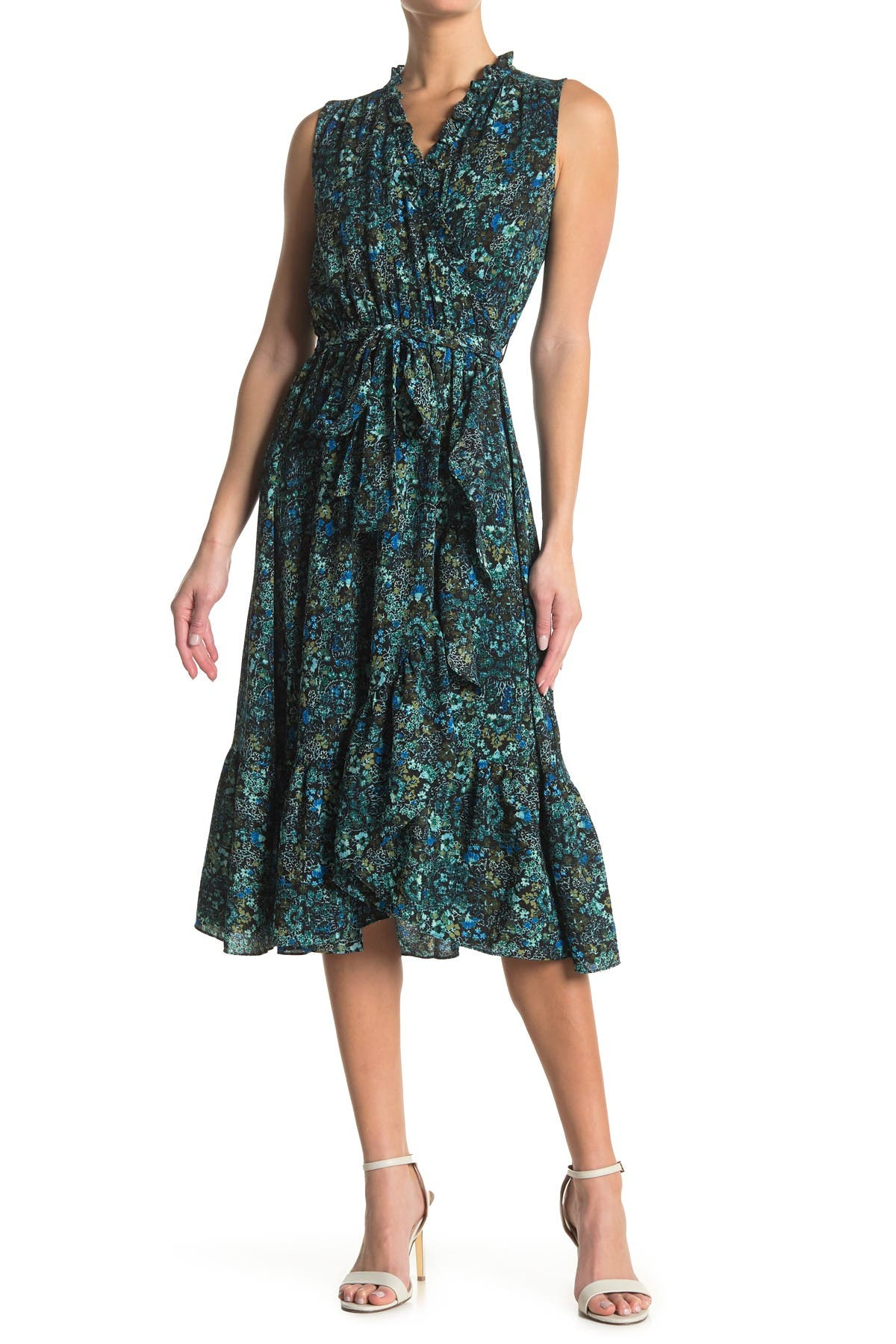 Image of London Times Floral Sleeveless Wrap Dress