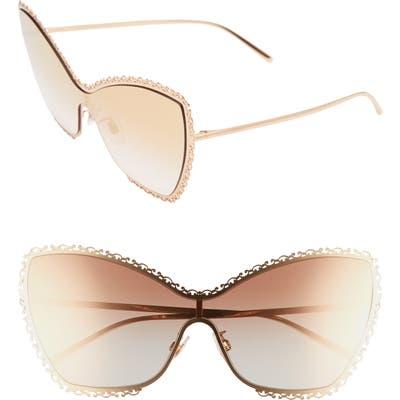 Dolce & gabbana 145Mm Butterfly Shield Sunglasses - Gold/ Pink Gradient Mirror