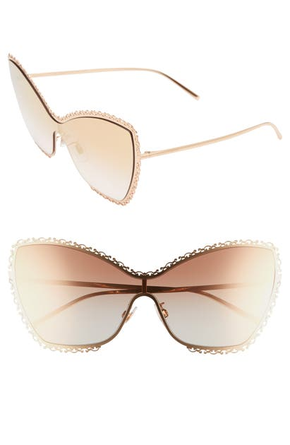Dolce & Gabbana Sunglasses 145MM BUTTERFLY SHIELD SUNGLASSES - GOLD/ PINK GRADIENT MIRROR