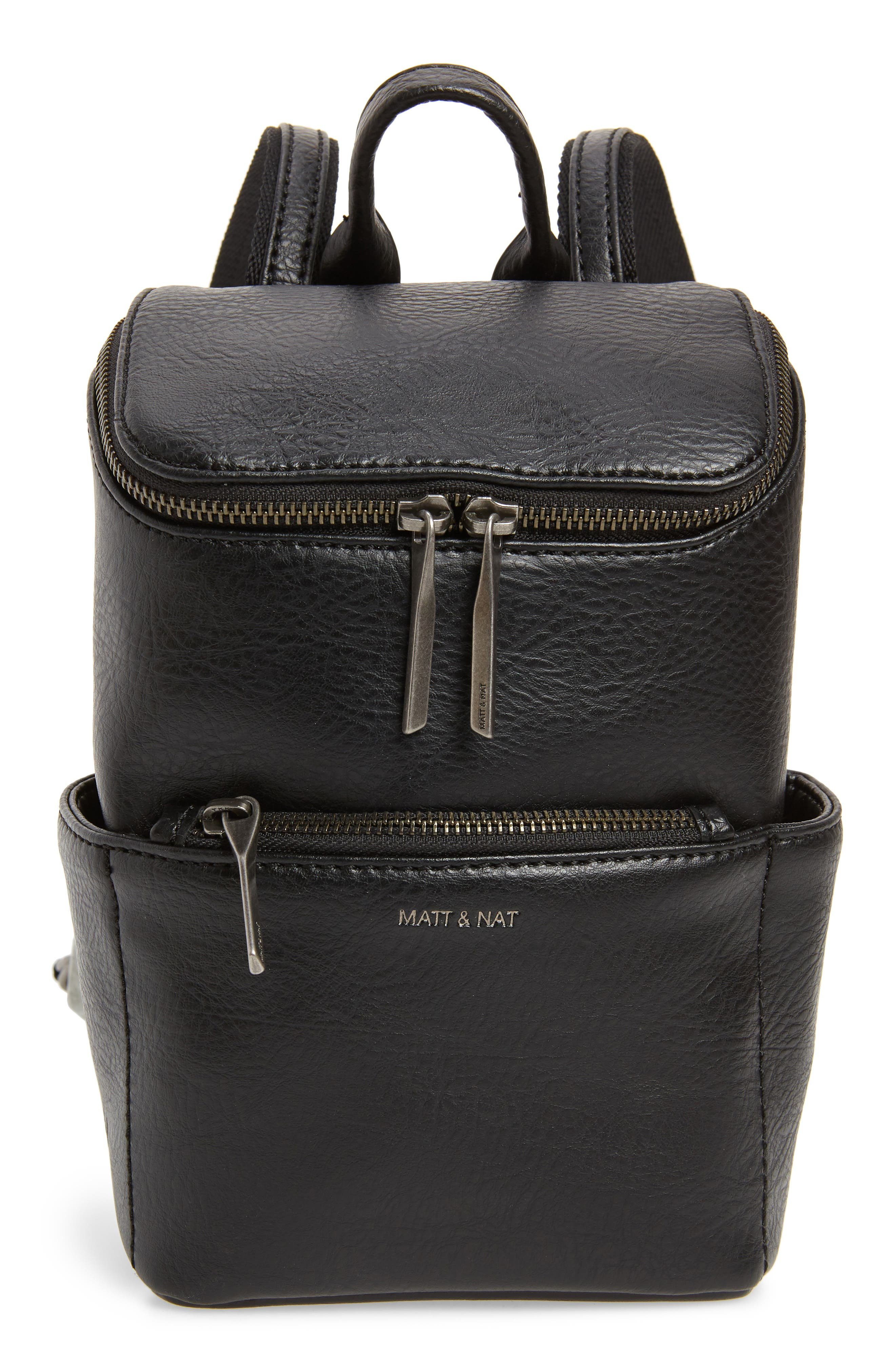 Mini Brave Faux Leather Backpack, Main, color, BLACK
