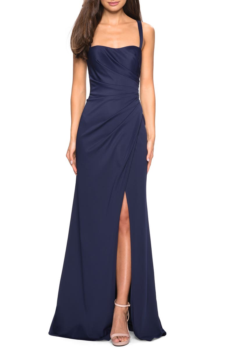 LA FEMME Ruched Soft Jersey Evening Dress, Main, color, NAVY