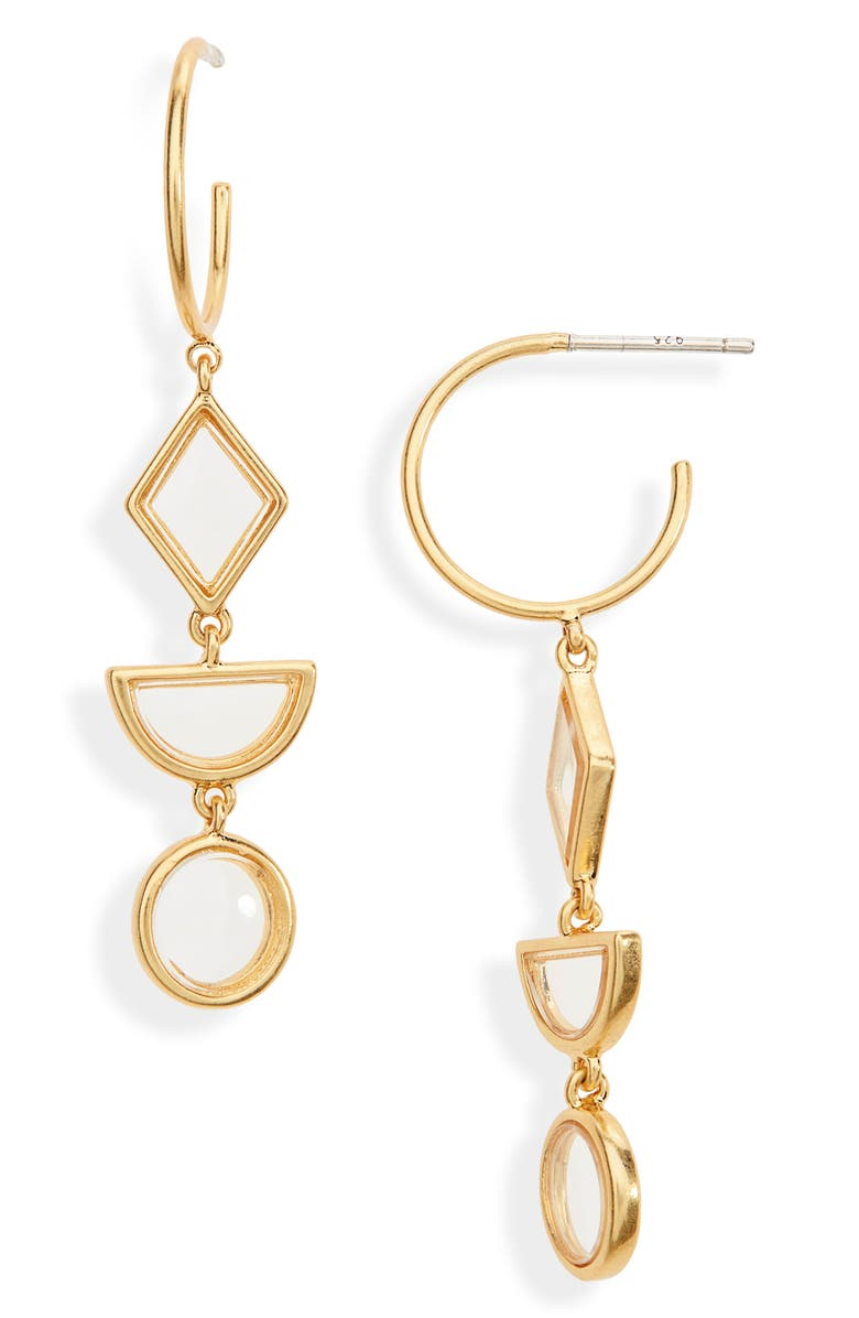 MADEWELL Stained Glass Drop Hoop Earrings, Main, color, CLEAR