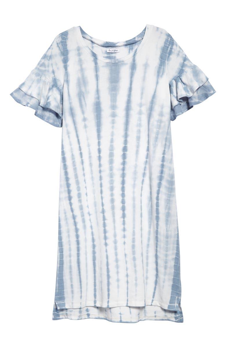 LOVE, FIRE Ruffle Sleeve T-Shirt Dress, Main, color, BLUE WHITE MULTI