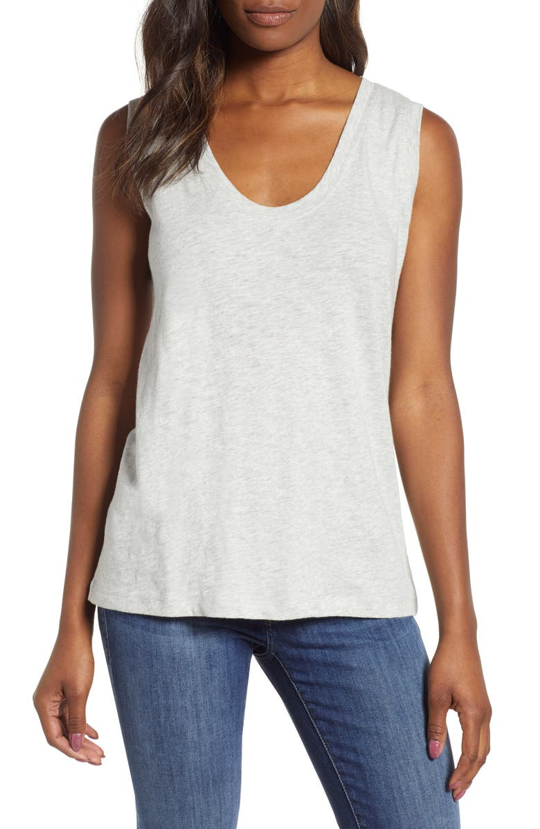 CASLON<SUP>®</SUP> Muscle Tank, Main, color, GREY LIGHT HEATHER