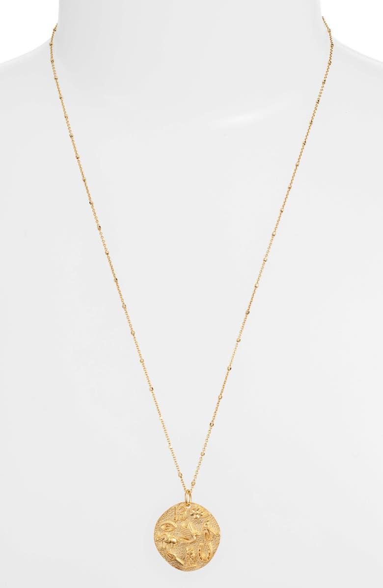 ARGENTO VIVO Luck Talisman Sterling Medallion Necklace, Main, color, GOLD