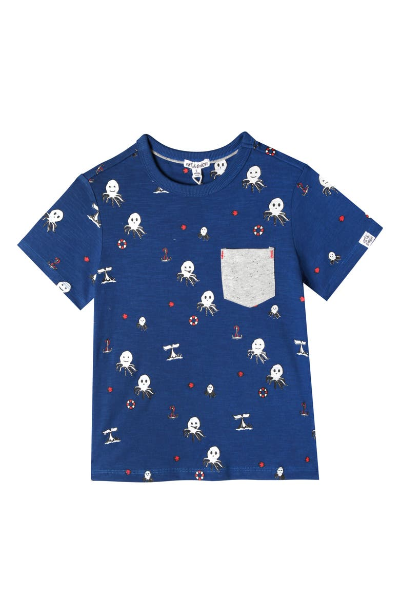 ART & EDEN Lucas Octopus Print T-Shirt, Main, color, 477
