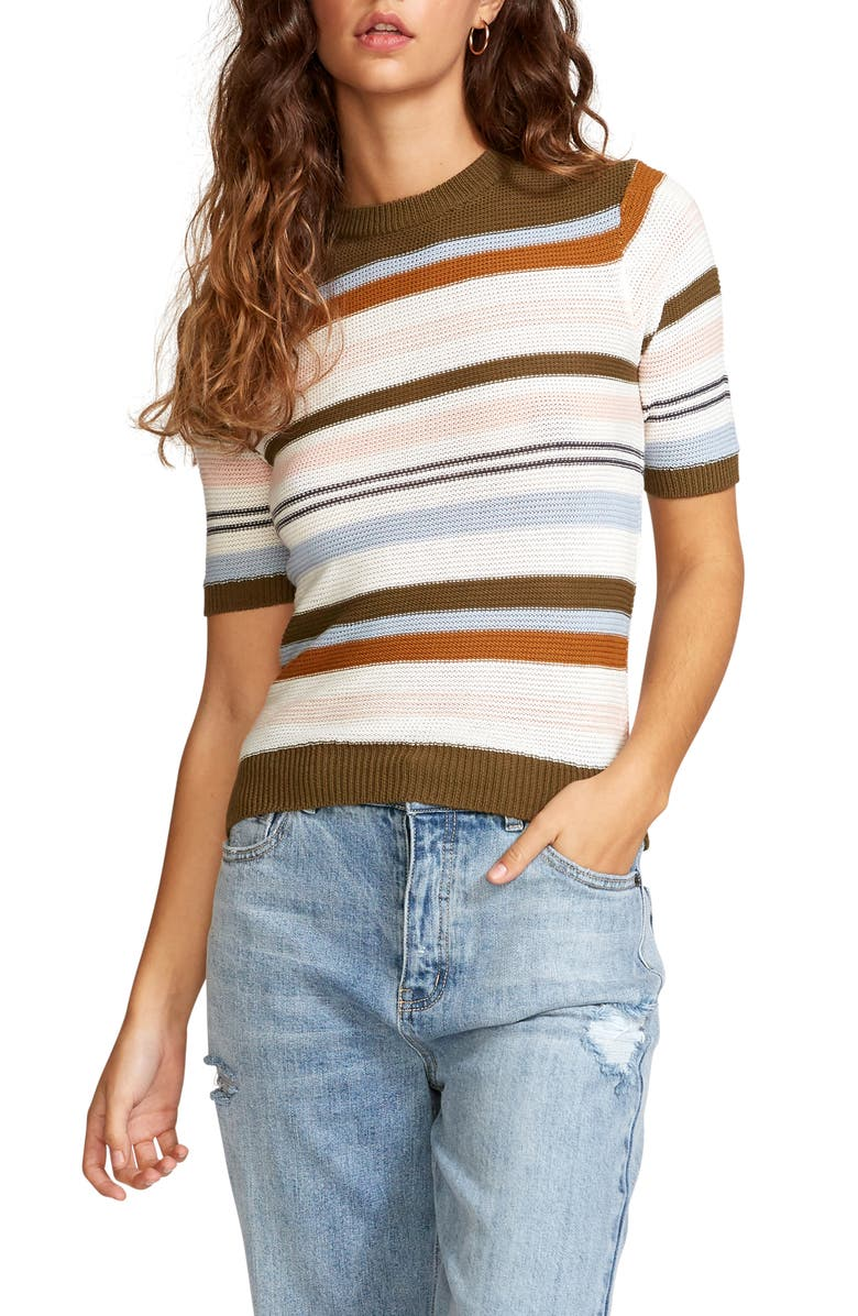 RVCA Nora Short Sleeve Stripe Sweater, Main, color, MULTI