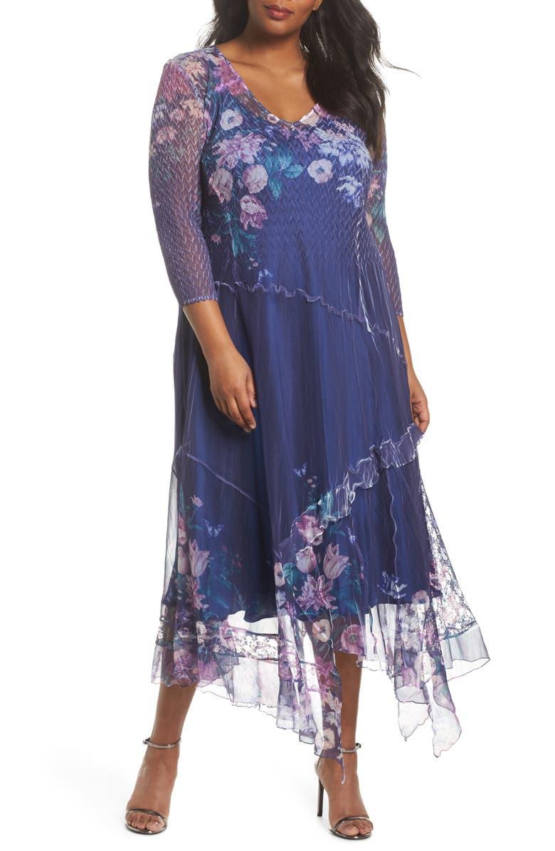 KOMAROV Chiffon Handkerchief Hem Dress, Main, color, 413