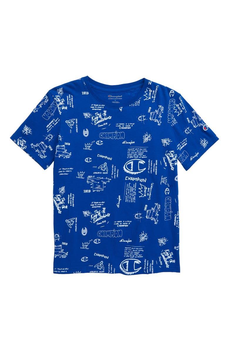 CHAMPION Scribble Print T-Shirt, Main, color, 400