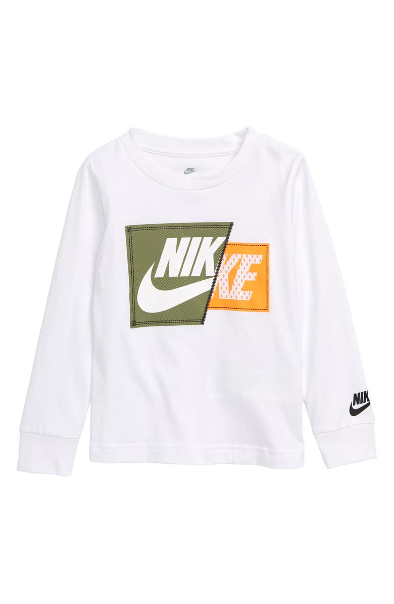 NIKE Split Futura Patch Graphic T-Shirt, Main, color, WHITE