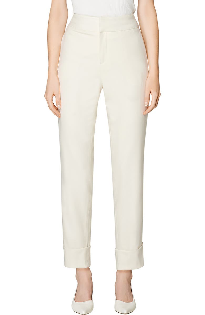 SUISTUDIO Lane Cuffed Wool Ankle Trousers, Main, color, OFF WHITE