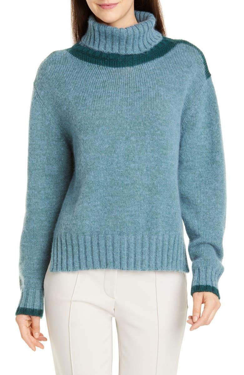 SEVENTY Mohair Blend Turtleneck Sweater, Main, color, CELESTE