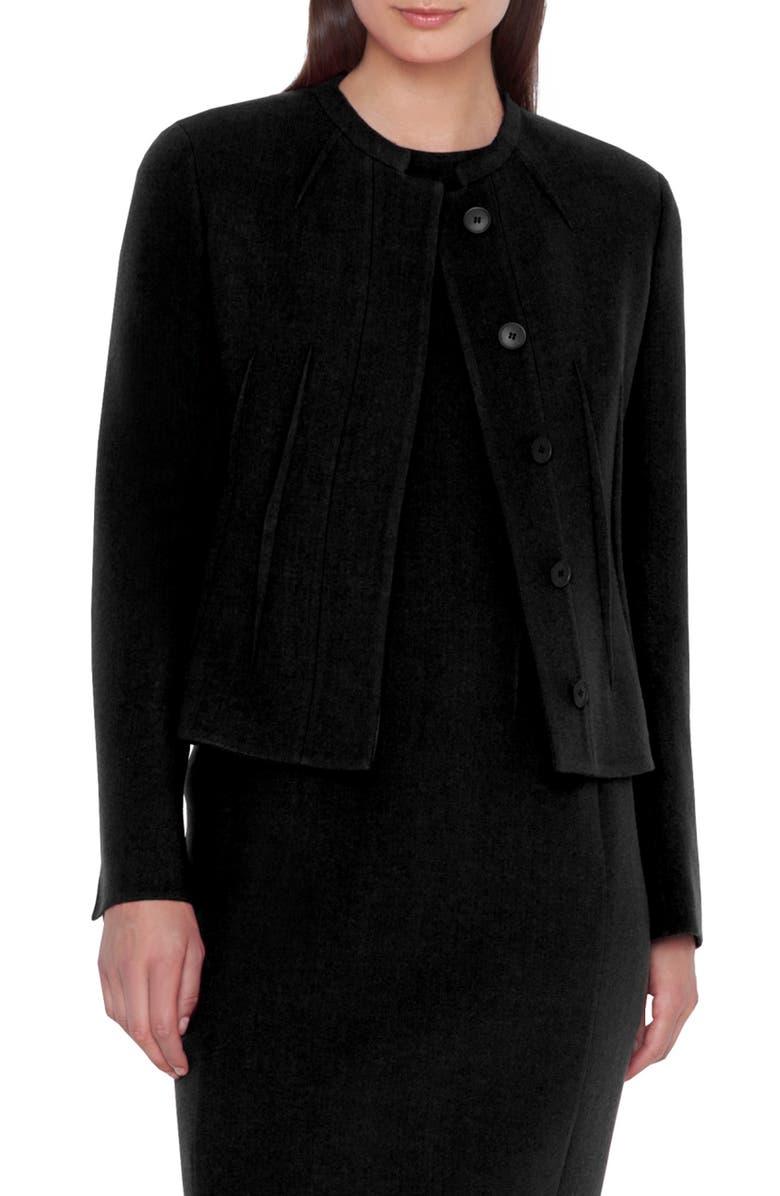 AKRIS Double Face Crepe Wool Jacket, Main, color, BLACK