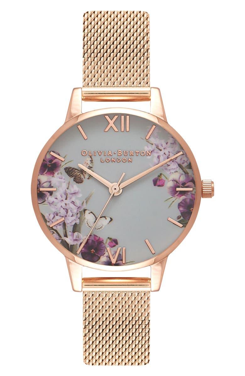OLIVIA BURTON Enchanted Garden Mesh Strap Watch, 30mm, Main, color, ROSE GOLD/ FLORAL/ ROSE GOLD