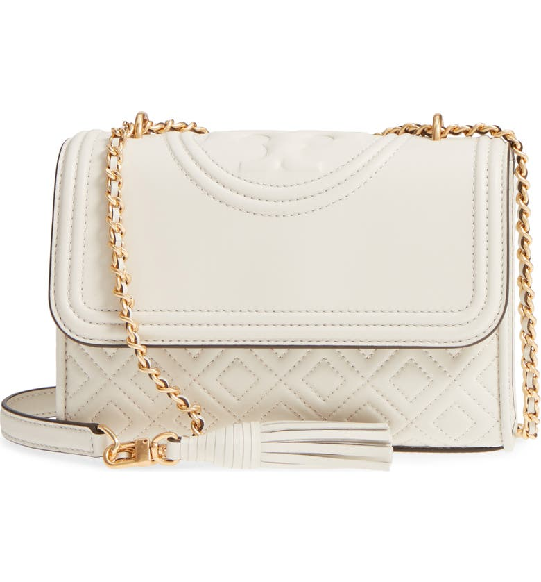 TORY BURCH Small Fleming Leather Convertible Shoulder Bag, Main, color, BIRCH