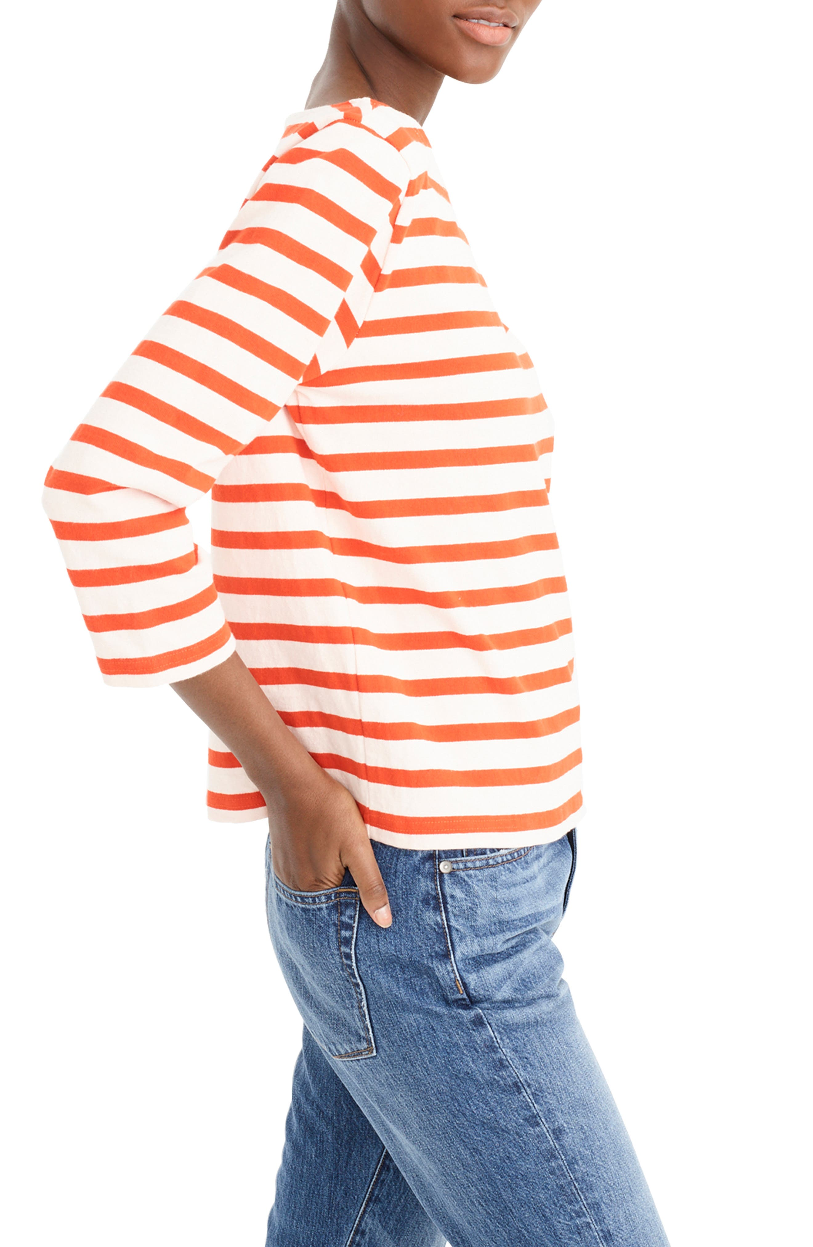 ,                             Structured Stripe Tee,                             Alternate thumbnail 3, color,                             SUBTLE PINK RED