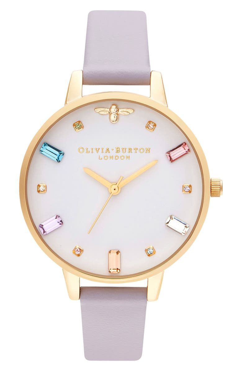 OLIVIA BURTON Rainbow Stone Leather Strap Watch, 34mm, Main, color, PARMA VIOLET/ WHITE/ GOLD